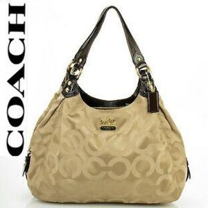 COACH Signature Logo Satchel Hobo Bag EUC